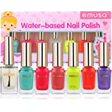 Kids Nail Polish Set - Non-Toxic Water Based Polish, Peelable Natural, Safe and Chemical Free, Kids Friendly Makeup Set for Little Girls (6 Bright Colors Kit with 1 Top Coat)