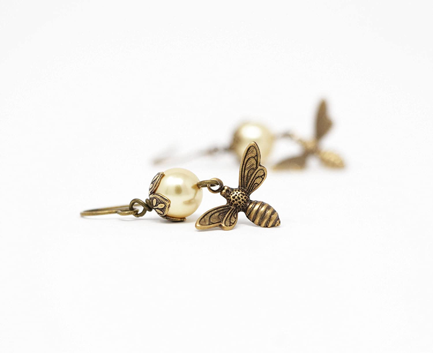 Bee Dangle Earrings With Pale Yellow Simulated Pearls