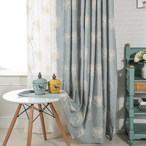 VOGOL 2 Panels Floral Patten Embroidered Elegant Faux Linen Grommet Curtains/Thermal Insulated 60 Blackout/Heavy Drapes