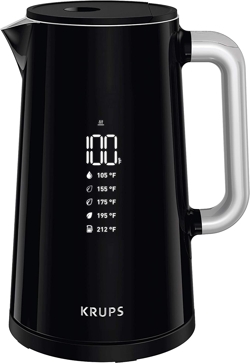 KRUPS BW801852 Smart Temp Digital Kettle Full Stainless Interior and Safety Off, 1.7-Liter, Black (Renewed)