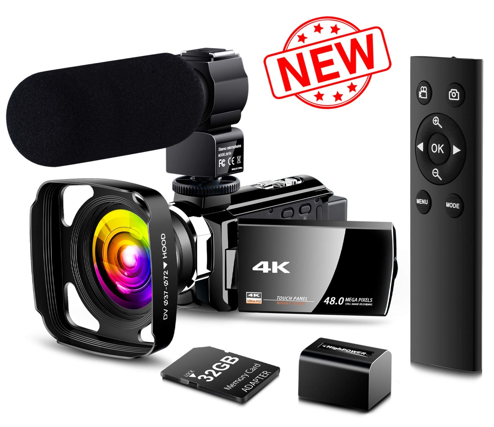 【New Upgrade】 4K Camcorder Vlogging Video Camera Ultra HD 60FPS Digital Recorder YouTube Camera 2.4G Remote Control IR Night Vision 3.0'' IPS Touch Screen with Microphone,Wide Angle Lens,Lens Hood by LVQUONE