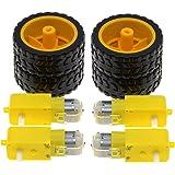 Tire Wheel for Arduino DC 3V-6V Smart Car DIY Project Roeam 2 Sets DC Gear