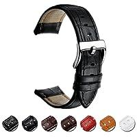 MEGALITH Cinturino Orologio in Pelle 16mm 18mm 20mm 22mm Cinturini in Vera Pelle per Uomo de Donna con Fibbia Solida in Acciaio Inossidabile
