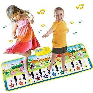 EXTSUD Tappeto Musicale Bambini Tastiera Pianoforte Musichette Giocattolo Educativo Tappetino da Gioco...