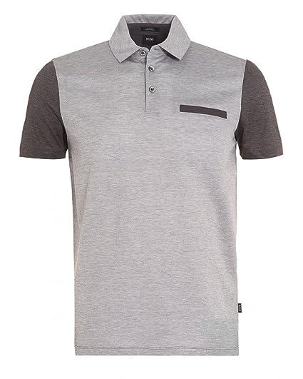 bc206b42258 BOSS Hugo Black Mens Place 11 Front Pocket Polo Shirt M Grey  Amazon.co.uk   Clothing