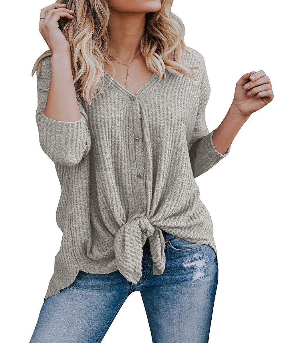 Unidear Womens Waffle Knit Tunic Blouse Tie Knot Henley Tops Bat Wing Plain Shirts #1Gray S