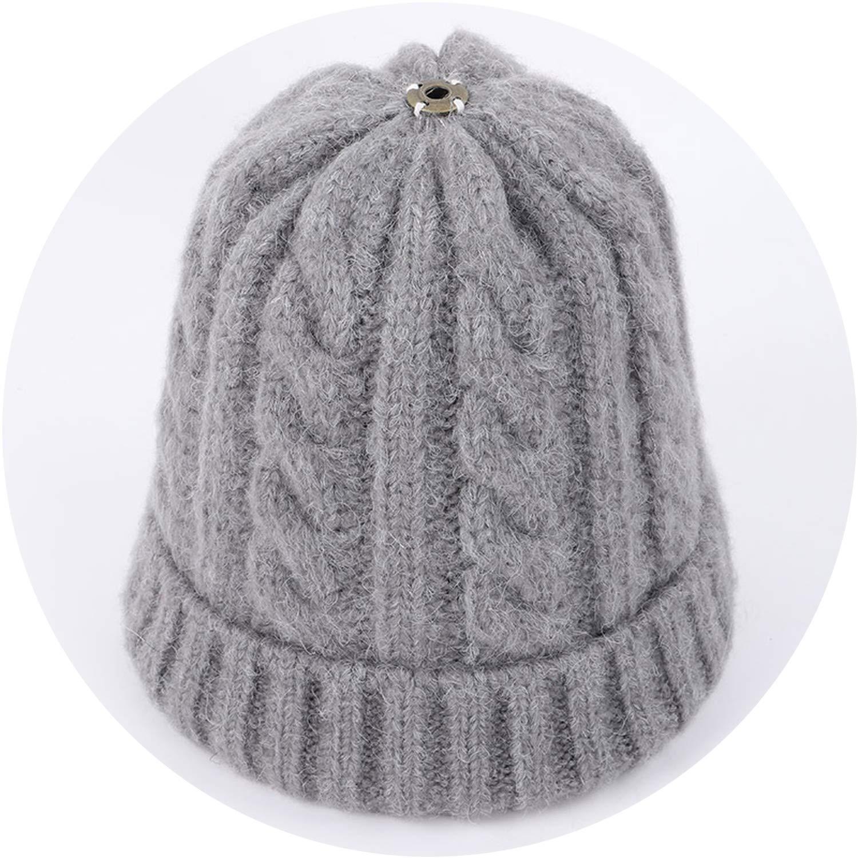 Wool Knit Beanies Fur Pom-Pom Soft Cap Winter Hat Skullies Kids Bone,Dark Gray,Adult
