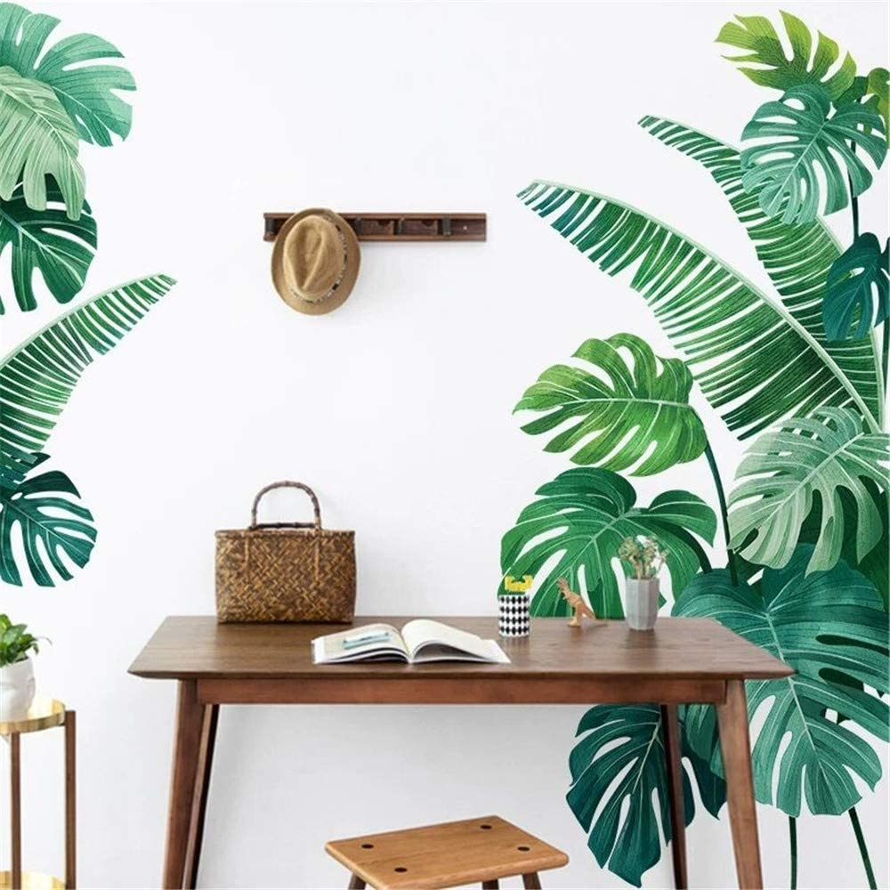 DERUN TRADING N14 Leaf Wall Decals Palm Tree Wall Decals Green Leaves Wall Paper Evergreen Wall Sticker Removable Decal Peel and Stick Giant Wall Decals Painterly Ivy Peel and Stick Wall Decals