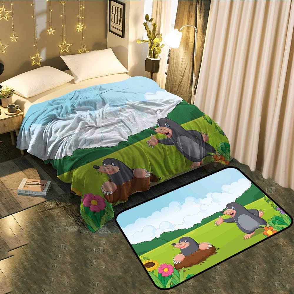 color09 Blanket 60\ Bedside Blanket Doormat suitCute Moles in The Garden Digging The Flower Field Animal Baby Cartoon Print Cozy and Durable Blanket 60 x78  Mat 5'X8'