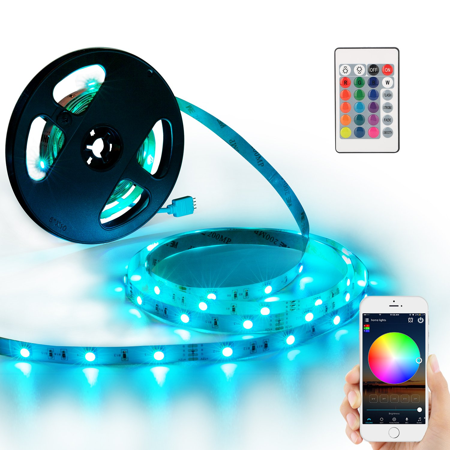 YIHONG LED Strip Lights Compatible with Alexa Google Home 16.4ft 150LEDs RGB Wifi LED Light Strip Non Waterproof LED Tape Ribbon by YIHONG (Image #1)