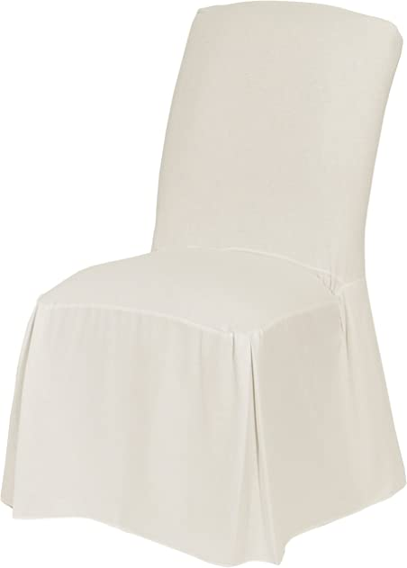 Classic Slipcovers CSI Cotton Duck Long Dining Chair Slipcover, White