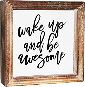 MACVAD Wake Up and Be Awesome Inspirational Wooden Box Sign for Home Decor,Freestanding Wood Framed Mini Sign with Sayings for Desk,Shelf or Wall Display 6