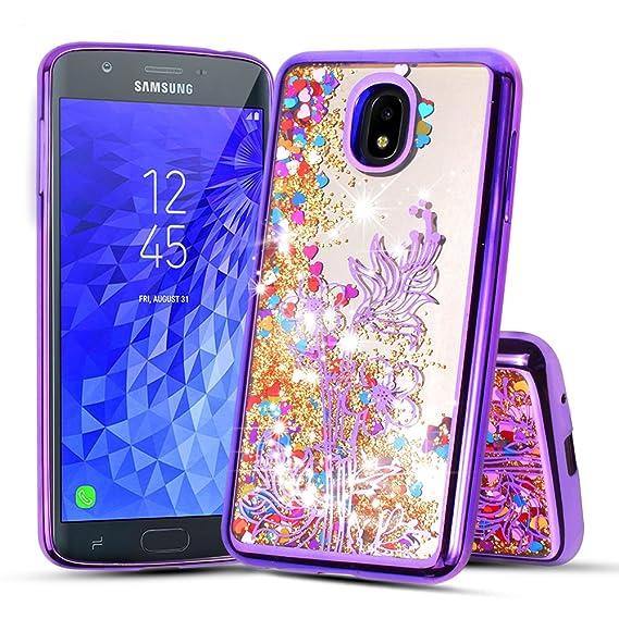 for 5.5 Inch for Samsung Galaxy J7 2018 (J737), Galaxy J7 Refine, J7 V 2nd Gen, J7 Star Liquid Glitter Quicksand Flowing Sparkle Clear Cute Bling Case ...