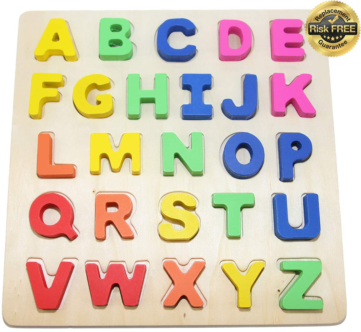 Wooden Alphabet Toddler Puzzles Toys For 2 To 3 Year Olds Kids With Big Bright Color Letters