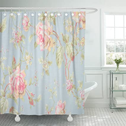 TOMPOP Shower Curtain Pink Vintage Rose Blue Floral Pattern Flower Lace Love Waterproof Polyester Fabric 72