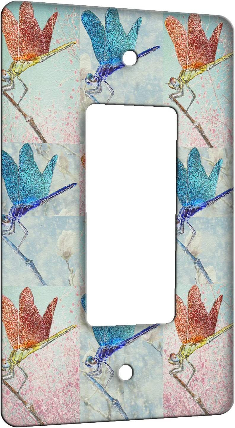 Elements of Space Dragonfly Floral Pattern Metal Wall Plate - 1 Gang Decora/GFCI
