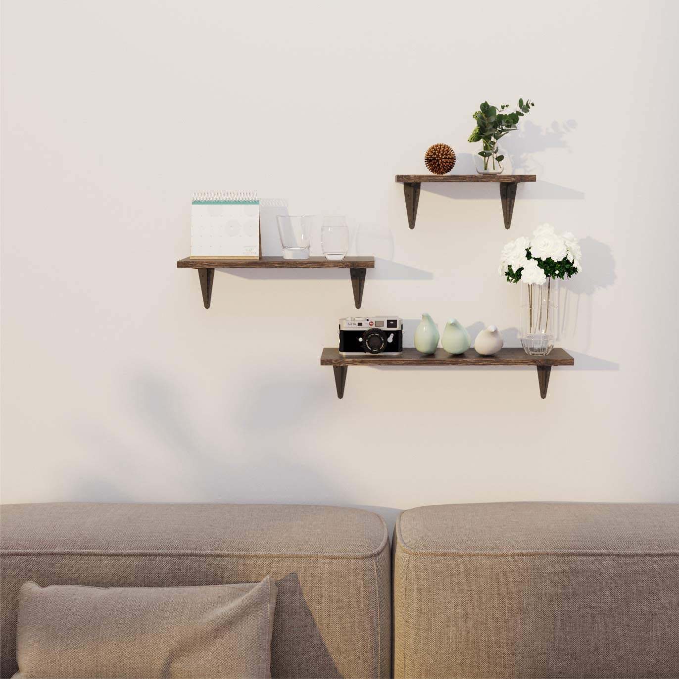 Living Room Office and More BAMFOX Floating Shelves Wall Mounted Set of 3 Bathroom Rustic Bamboo Wall Storage Shelves for Bedroom Kitchen