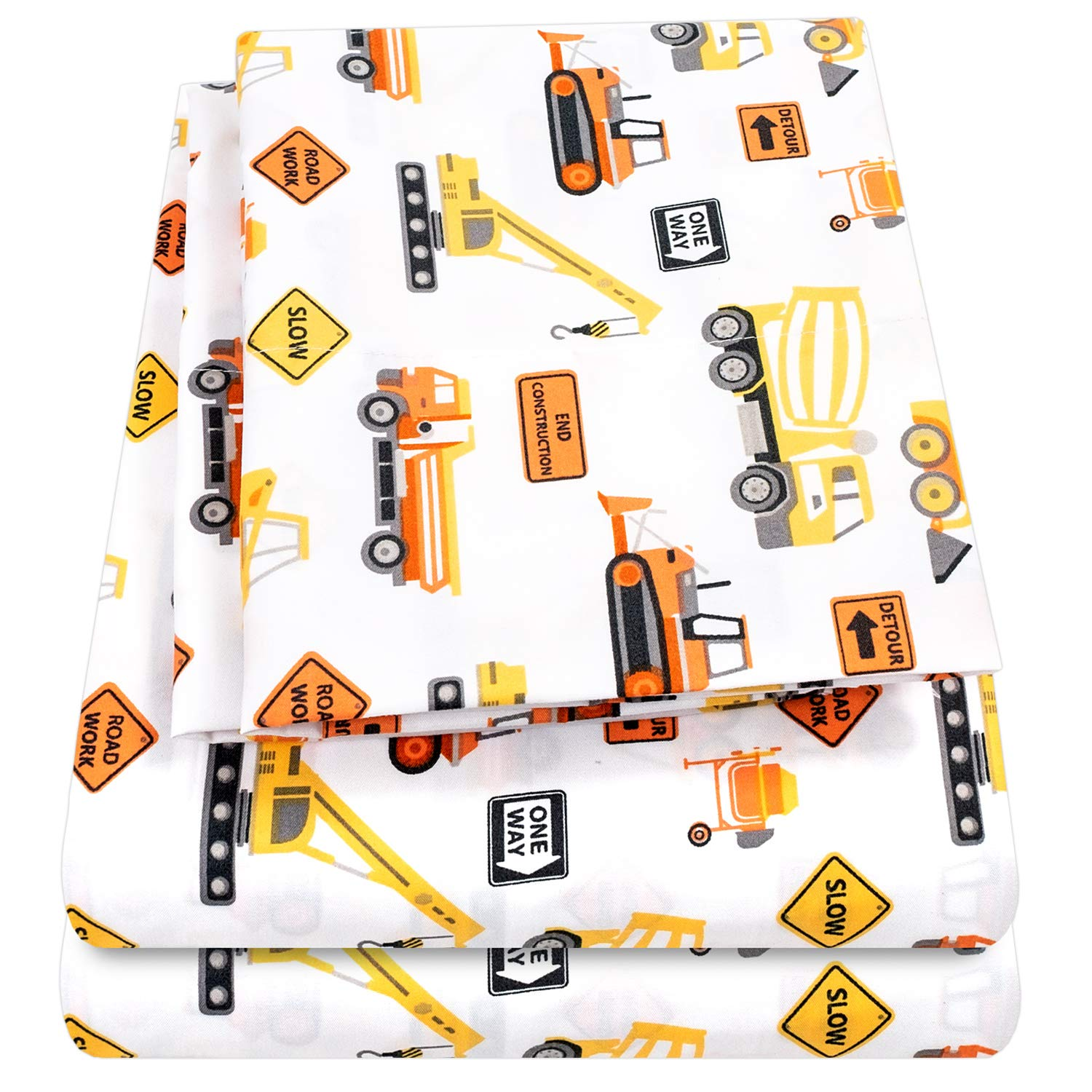 1500 Supreme Kids Bed Sheet Collection - Fun Colorful and Comfortable Boys and Girls Toddler Sheet Sets - Deep Pocket Wrinkle Free Hypoallergenic Soft and Cozy Bedding - Twin, Construction
