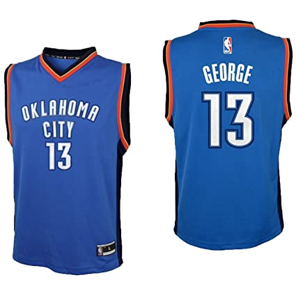 newest collection 557fd d6667 Outerstuff Paul George Oklahoma City Thunder #13 Blue Youth Road Replica  Jersey