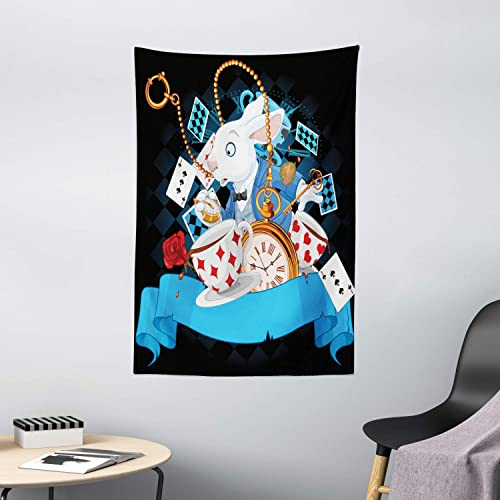 Ambesonne Alice in Wonderland Tapestry, Rabbit Motion Cups Hearts and Flower Character Alice Cartoon Style, Wall Hanging for Bedroom Living Room Dorm Decor, 40 X 60 , Black Blue