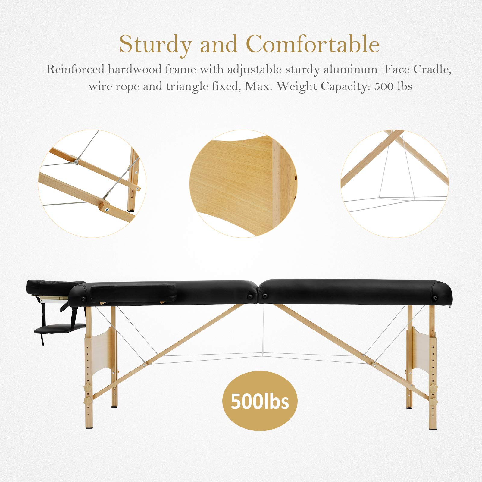 Uenjoy Massage Table 84'' Professional Folding Massage Bed Deluxe Model with Extra Width, Ultra-thick Sponge, PU Leather Surface & Additional Accessories, 2 Fold, Black by Uenjoy (Image #5)