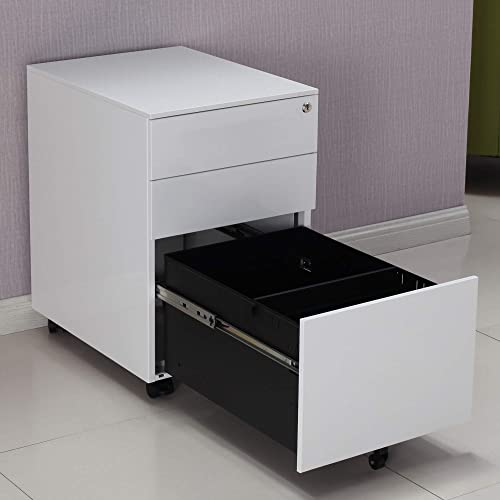 3 Drawer Mobile File Cabinet with Lock, Metal Filing Cabinet for Legal Letter A6 Size, Fully Assembled Except Wheels