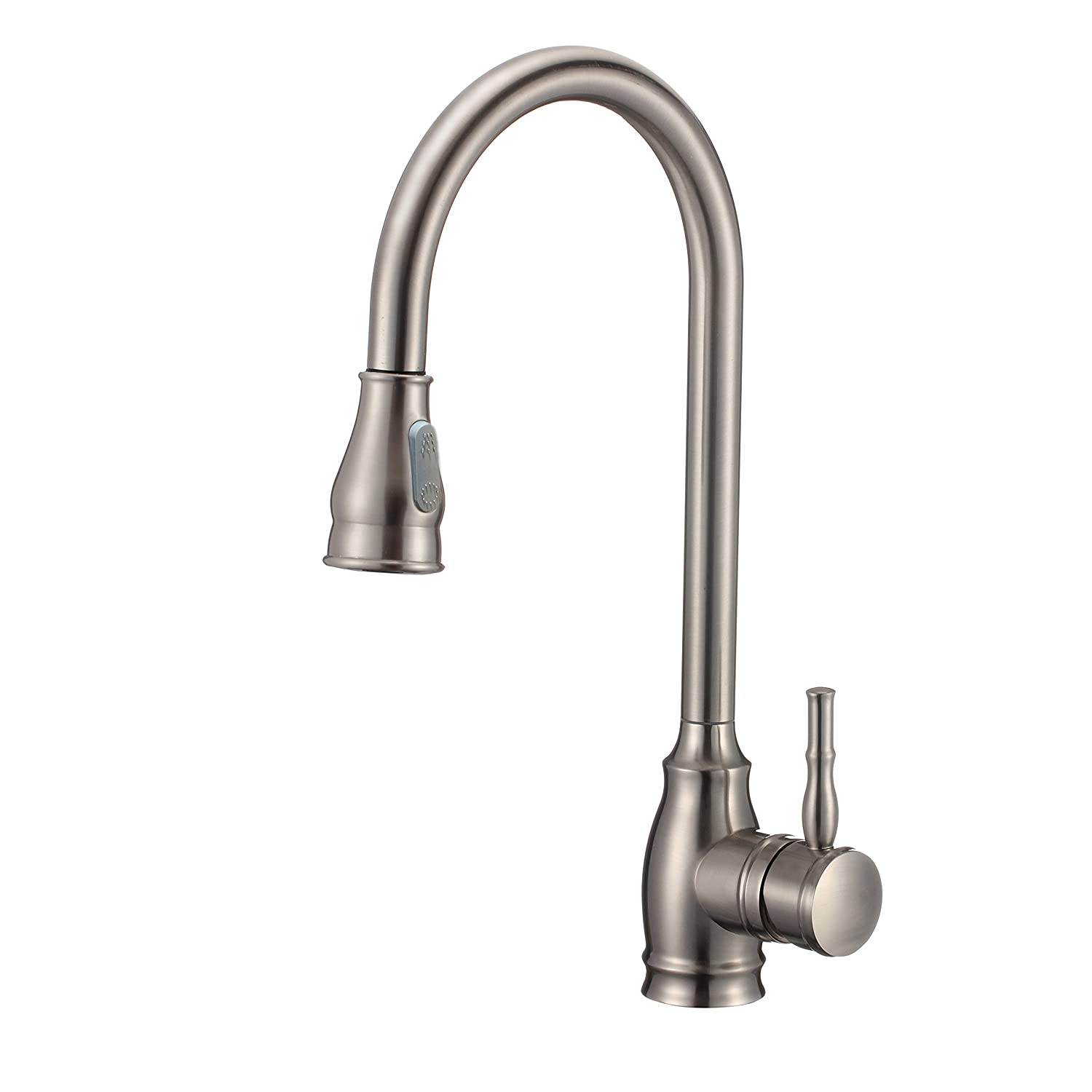 CRACCO SPA Single Handle Pull Out Sprayer Kitchen Sink Faucet With Deck Plate Single Lever Faucets With Pull Down Sprayer Brushed Nickel