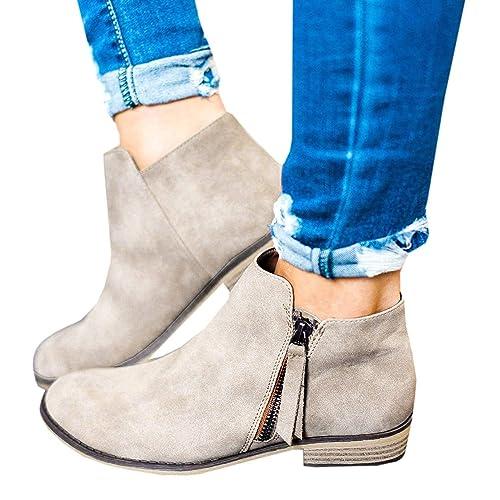 Minetom Mujer Otoño Invierno Botas Cortas Elegante Cómodas Antideslizante Plano Zapatos Chic Cremallera Botines Bootie Chelsea Martin Boots Beige EU 37: ...