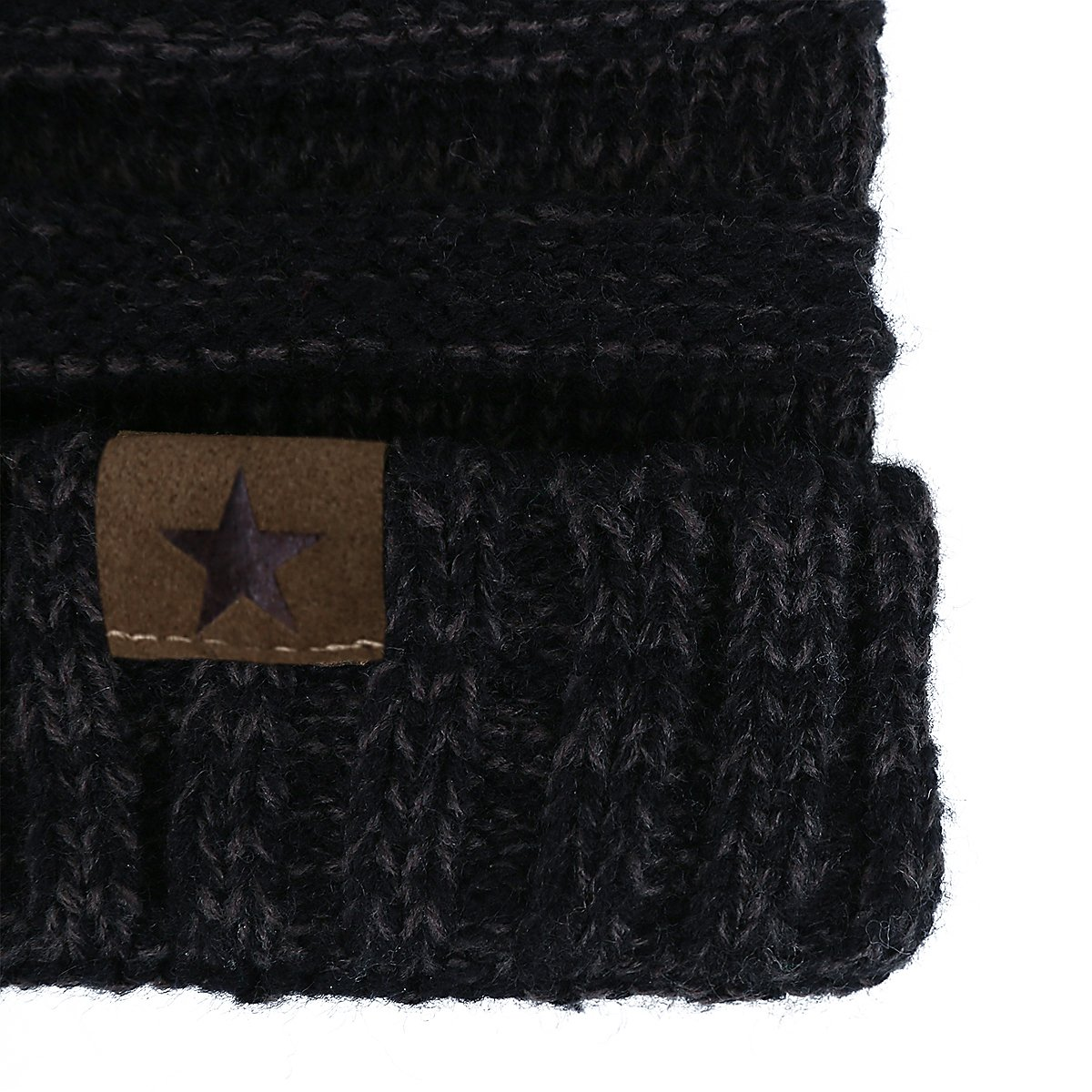 EVRFELAN Soft Winter Warm Knitting Hat Cable Beanie Solid Daily Slouchy Hats Skull Cap (Black2)