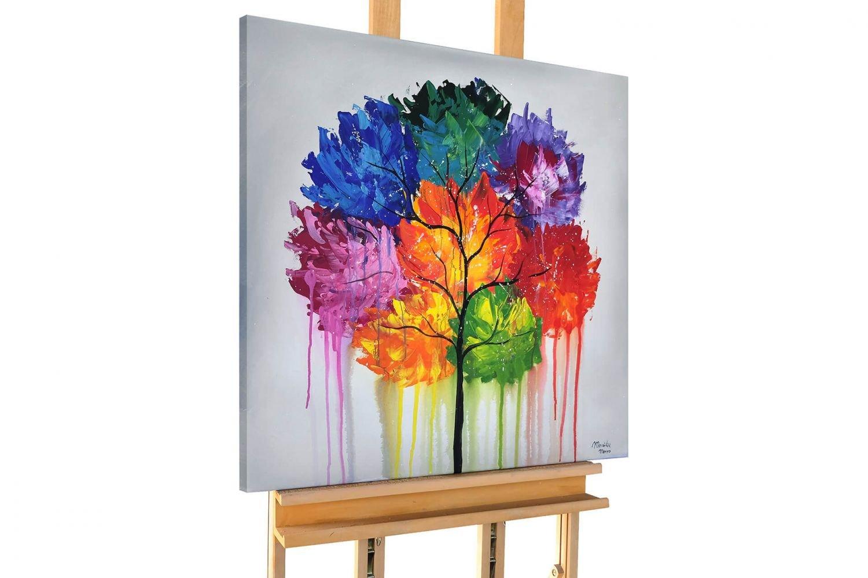 KunstLoft® Acryl Gemälde 'Belle of the Village' 80x80cm | original handgemalte Leinwand Bilder XXL | Baum Laub Natur Bunt | Wandbild Acrylbild moderne Kunst einteilig mit Rahmen