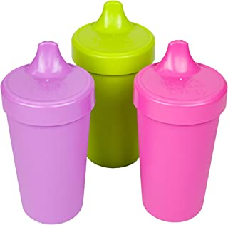 product image for RE- PLAY Made in USA 3pk - 10 oz. No Spill Sippy Cups | Purple, Lime Green, Bright Pink | Eco Friendly Heavyweight Recycled Milk Jugs | Virtually Indestructible| BPA Free | Butterfly