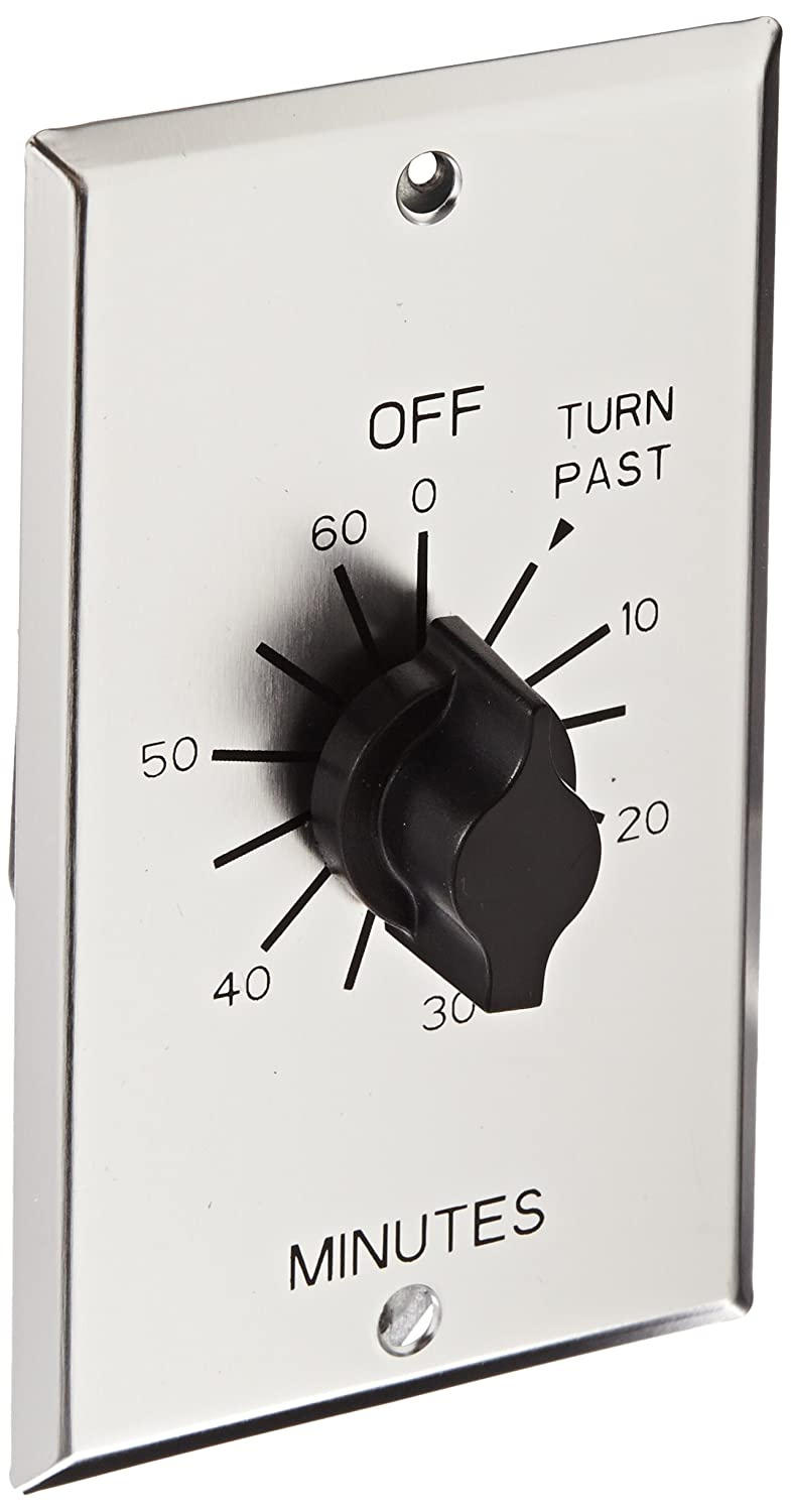 NSi Industries TORK C560M In-Wall Spring Wound 60-Minute Commercial Grade Mechanical Interval Timer Switch - for Fans, HVAC, Whirlpools, Motors and Pumps - Automatic Off- Metal Single-Gang Wall Plate Included