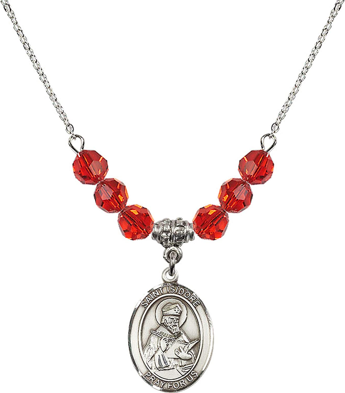 Bonyak Jewelry 18 Inch Rhodium Plated Necklace w// 6mm Red July Birth Month Stone Beads and Saint Isidore of Seville Charm