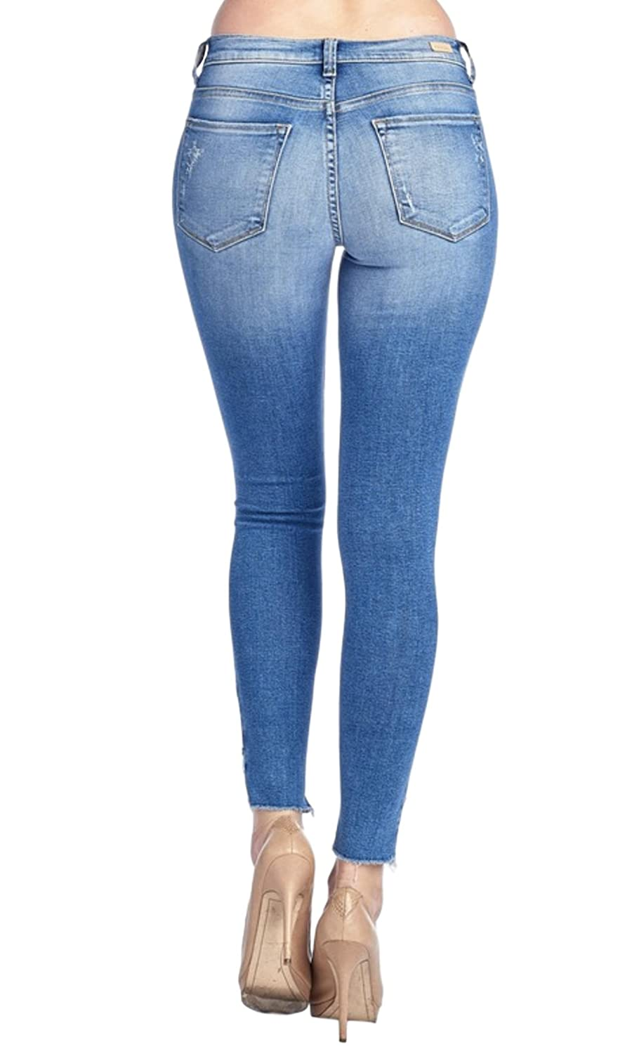 Sneak Peek Womens Mid Rise Cropped Skinny Jeans with Distressed Knee and Frayed Slant Hems