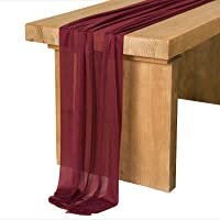Ling's moment Sheer Chiffon Table Runner for Wedding Party Bridal Shower Table Setting Decorations, Chiffon, Burgundy…