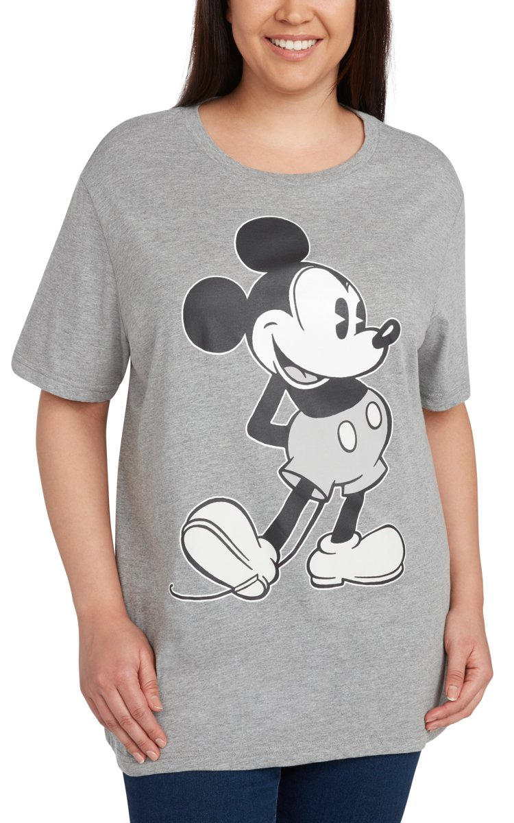 Disney Women's Plus Size T-Shirt Mickey Mouse Print (Heather Grey, 2X)