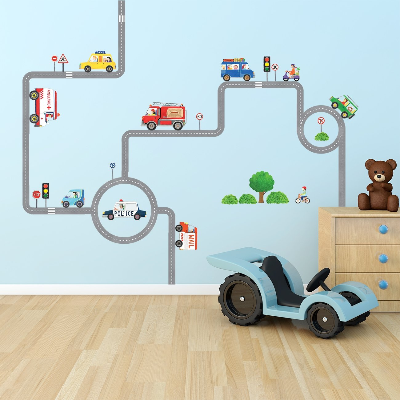 Amazon.com: Decowall DW-1604 Vehicles on The Roads Kids Wall Decals ...