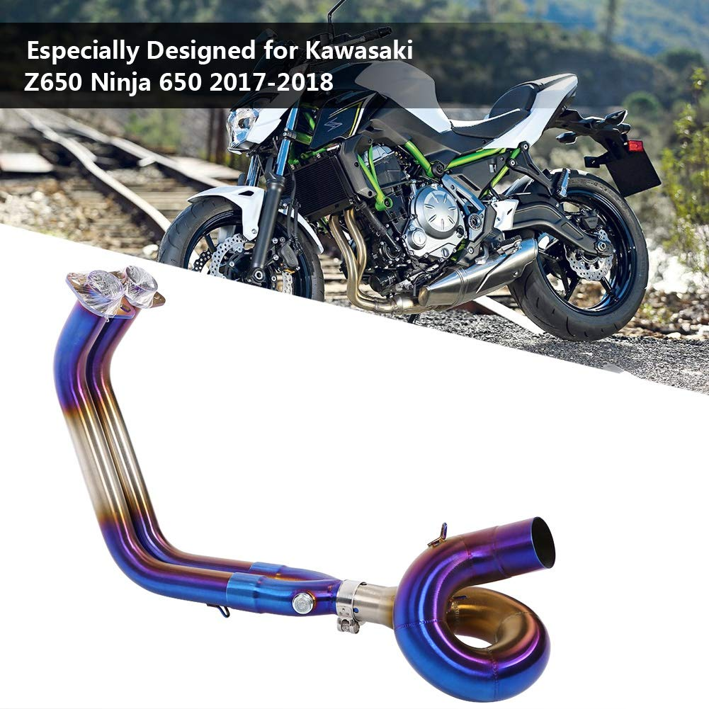 Slip On Motorcycle Exhaust System Front Header Pipe Link Tube Motorcycle Full Exhaust System Circling Front Pipe Link Connect for Z650 650 Silver