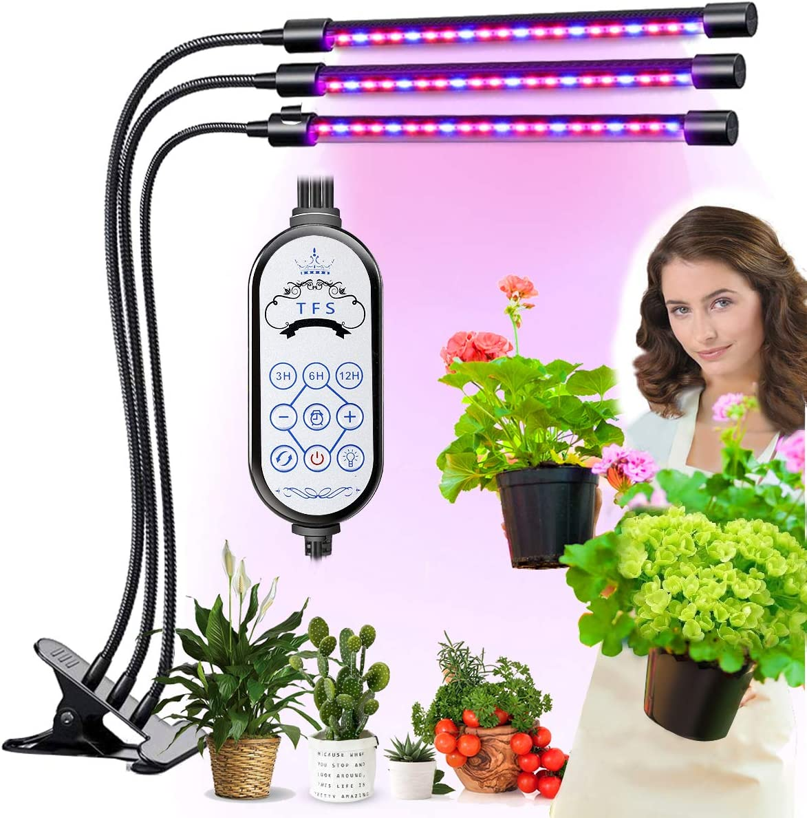 LED Grow Light for Indoor Plant – 60W Tri Head On Desk Plants Growing Lamp with 6 Dimmable Levels Auto Timer Perfect for House Garden Hydroponics Succulent Red Blue Spectrum Clip Adjustable Gooseneck