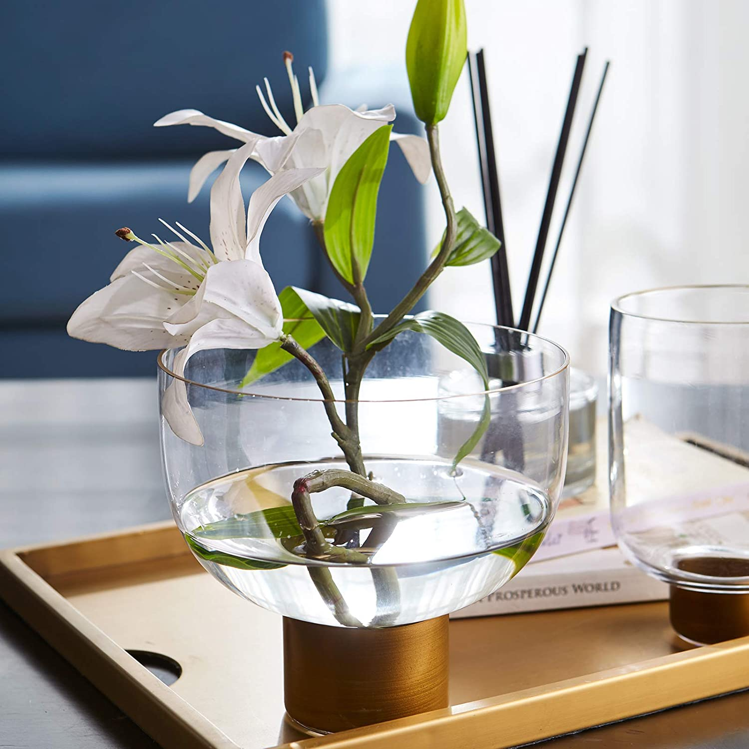 Cyl Home Vases Clear Glass Flower Arrangement Vase with Brass Stand Decor Bowl Hurricane Candleholder Table Centerpieces for Dining Living Room Wedding Gift, 6.1'' H x 2.8'' D