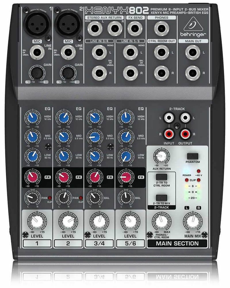 Behringer XENYX 802 Small Format Mixer with XENYX Mic Preamps, 8 Input Channels, 10Hz to 20kHz Frequency Response - Silver by Behringer