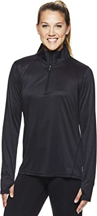 Yoga Clothing For You Ladies 1//2 Zip Black Pullover Shirt