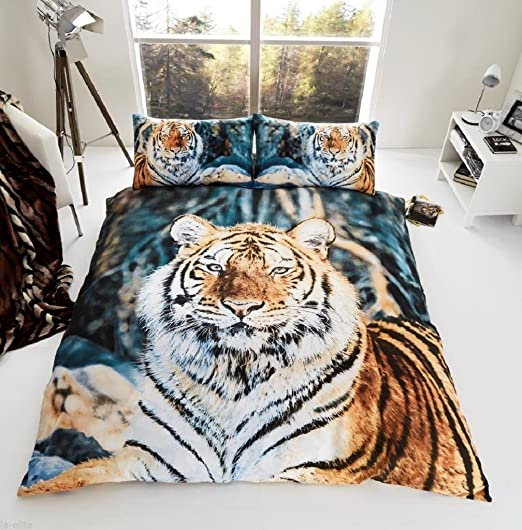 Duvet Cover Set 3D Animal Bedding Pillow Case Lion and Tiger Single Double King