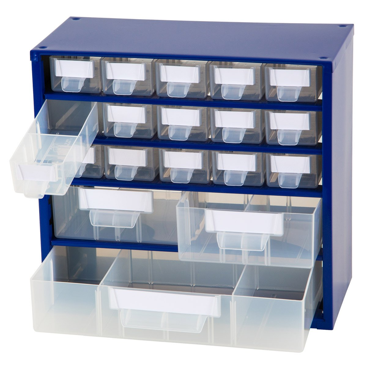 Johnssteel Model 517, 15 Drawer Plastic Parts Type A, 2 Type B, 1 Type C, Steel Metal Storage Hardware Craft Cabinet Tool Organizer, 12.1-Inch W by 11.1-Inch H by 6.1-Inch D,Blue,Dividers,Labels incl.
