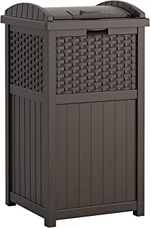 product image for Suncast 33 Gallon Hideaway Can Resin Outdoor Trash with Lid Use in Backyard, Deck, or Patio, Brown