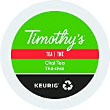 Timothy's Chai Tea Single Serve Keurig Certified Recyclable K-Cup pods for Keurig brewers, 24 Count
