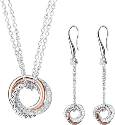 Sterling Silver Double Circle Cut Outs Fish Hook Dangling Earrings w//Rolo Chain