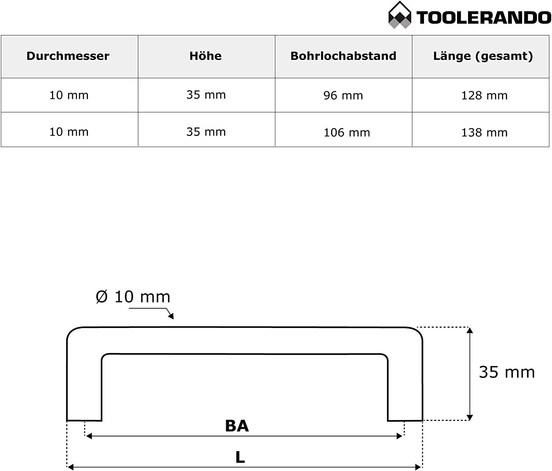 Griff mit Bohrlochabstand 96 mm Toolerando M/öbelgriff B/ügelgriff Edelstahl 15 St/ück