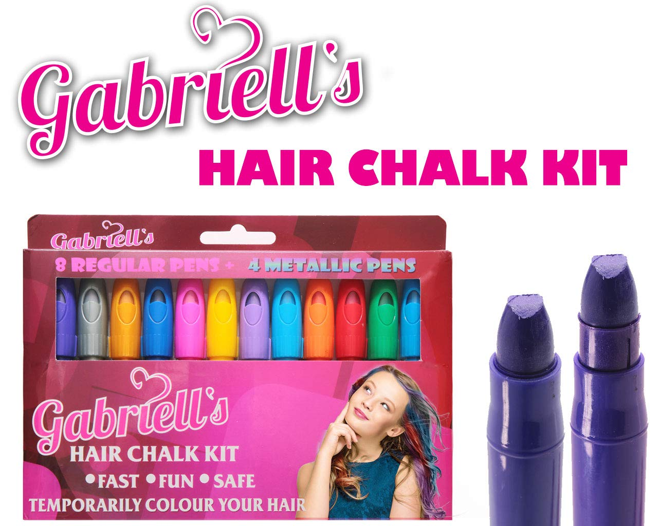 Scented Hair Chalk Pens - Gabriells 12 Hair Color Pen Set & Face Paint Kit- Non Toxic wax - Best Gift for Girls, Boys, Children, Men and Women - Temporary Colors