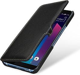 StilGut Book Type Housse en Cuir pour HTC U11+. Étui de Protection HTC U11+ en Cuir véritable à Ouverture latérale et Fonction Smart-Cover, Noir avec Clip